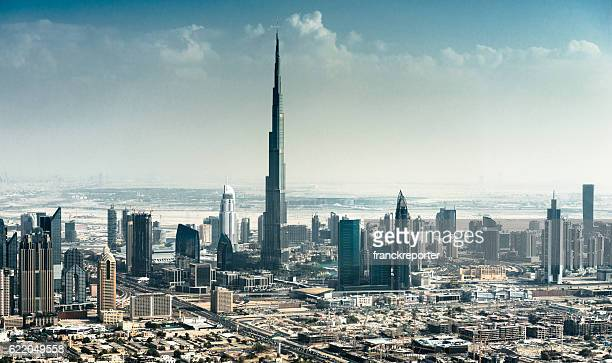 dubai skyline with downtown - skyline stock pictures, royalty-free photos & images