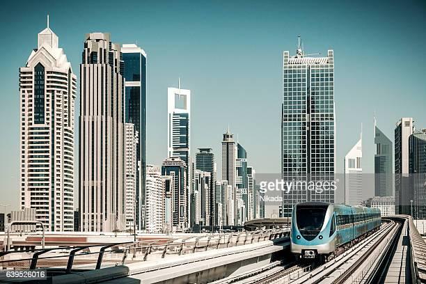 Dubai Skyline with metro