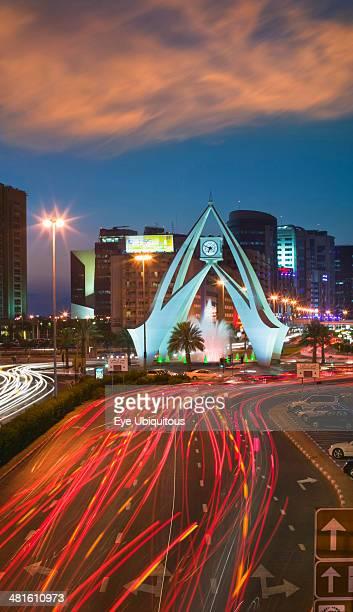 Dubai The Clock Tower roundabout in Rigga at dusk