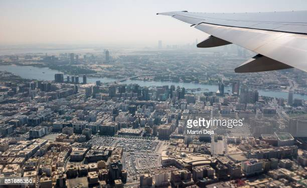 dubai top view - airplane part stock photos and pictures