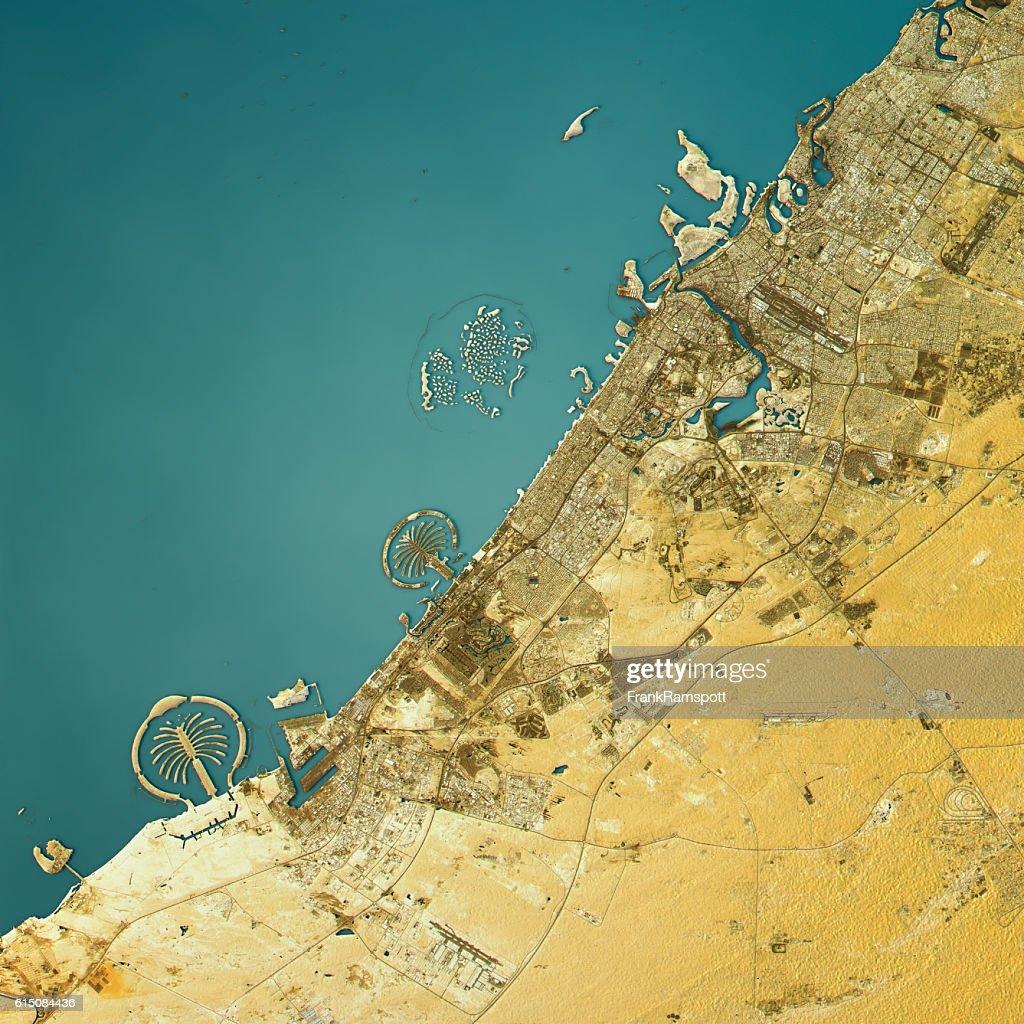 Dubai Topographic Map Natural Color Top View : Stock Photo