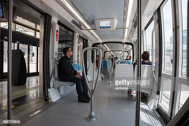 dubai tram in dubai, united arab emirates - tram stock pictures, royalty-free photos & images