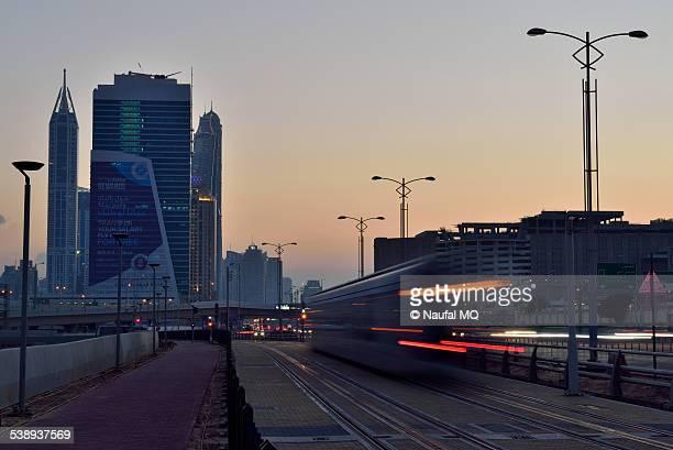 Dubai tram on the move