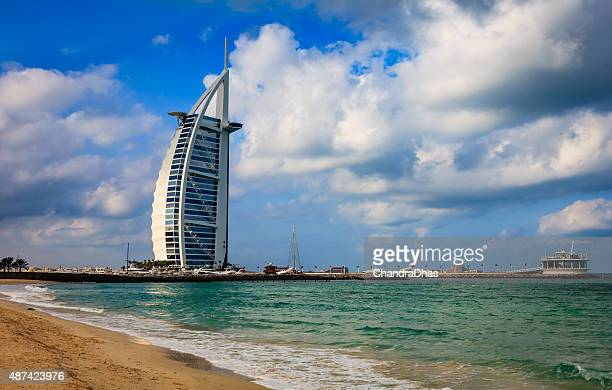 Dubai, UAE: iconic Burj Al Arab Hotel from Jumeirah Beach