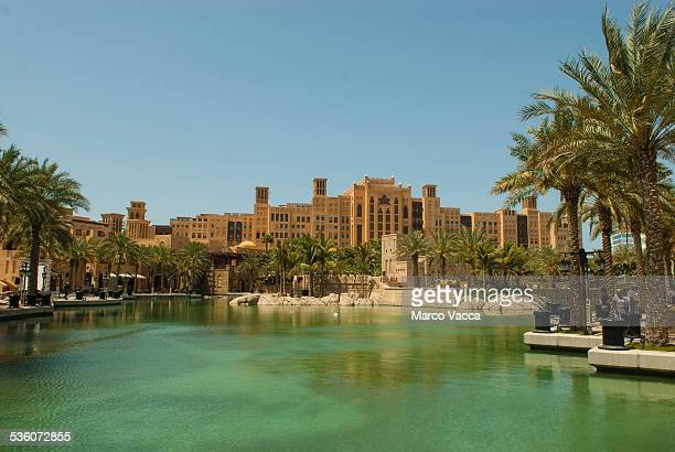 Dubai UAE Medinat Jumeirah a Venetian style shopping mall with canals and boats