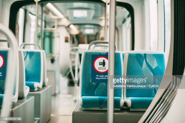dubai, uae, november 2020 bus with seat restriction signs due to the covid-19 coronavirus pandemic. - dubai stock pictures, royalty-free photos & images