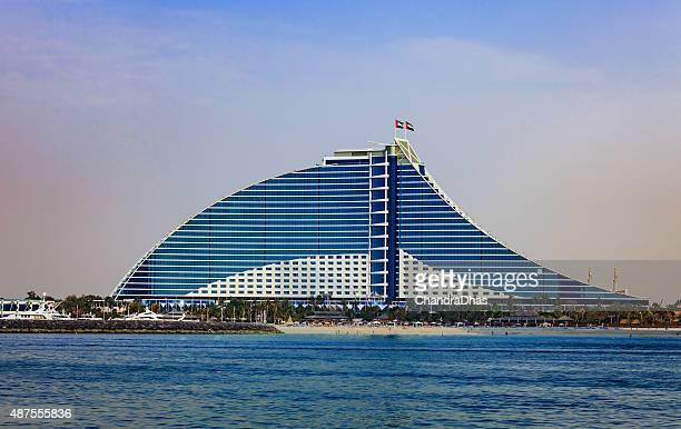 Dubai, UAE - The Jumeirah Beach Hotel, offshore shot