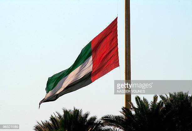 An United Arab Emirates flag flies at half staff at Diyafa Road in Dubai 04 Januray 2006 to mark the death of Sheikh Maktoum bin Rashed alMaktoum who...