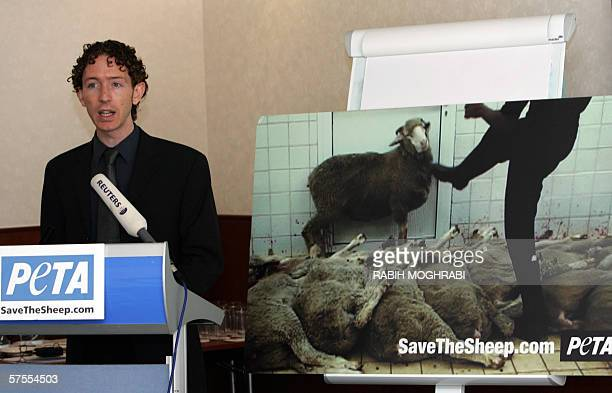 Dubai, UNITED ARAB EMIRATES: Andrew Butler, Africa Region representative of the radical animal rights group PETA, announces the launch for the first...