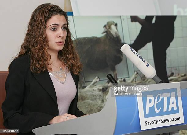 Dubai, UNITED ARAB EMIRATES: Egyptian Nadia Montasser, activist of the radical animal rights group PETA, speaks to reporters in Dubai, as the group...