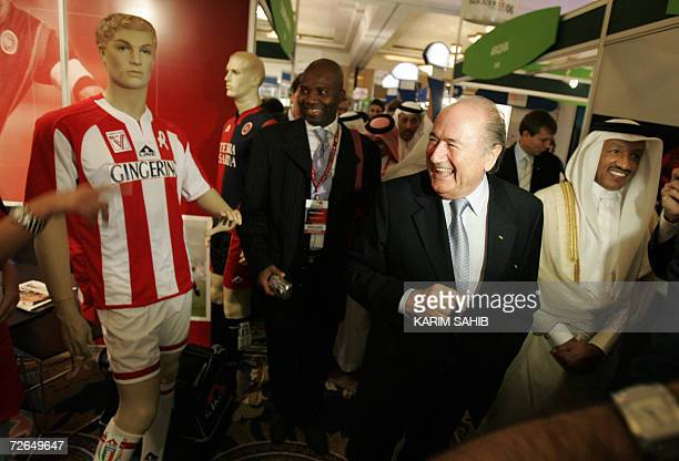 FIFA president Joseph Blatter and Asian Football Confederation president Mohammed bin Hammam attend the opening of the Soccerex conference in Dubai...