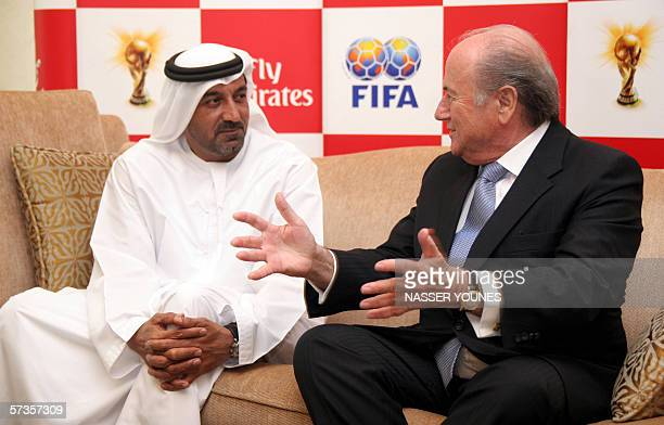 FIFA President Joseph Sepp Blatter speaks to Sheikh Ahmad bin Saeed Al Maktoum president of Emirates Airlines after the signing of a sponsorship...