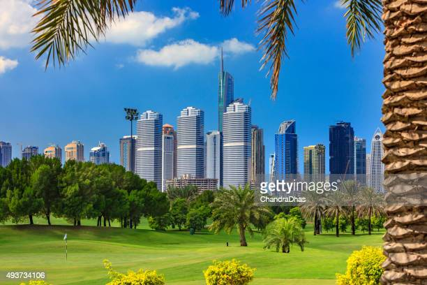 dubai, united arab emirates - golf fairway in the foreground; modern skyscrapers in the background, framed by a date palm tree to the right. - golfbaan green stockfoto's en -beelden