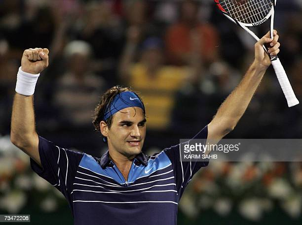 Roger Federer of Switzerland celebrates after beating Tommy Haas of Germany during their semifinal match for the ATP Dubai Tennis Championships 02...