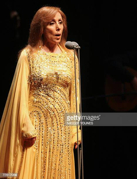 TO GO WITH AFP ARABIC STORY BY WISSAM KEYROUZ Lebanese diva Fairuz performs at the American University concert hall in Dubai 30 March 2006 Marking...
