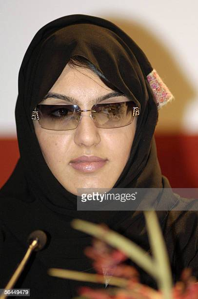 TO GO WITH AFP STORY EntertainmentUAEfilm Emirati director Nada Mohammed alKarimi attends a press conference in Dubai 17 December 2005 Moviemaking in...