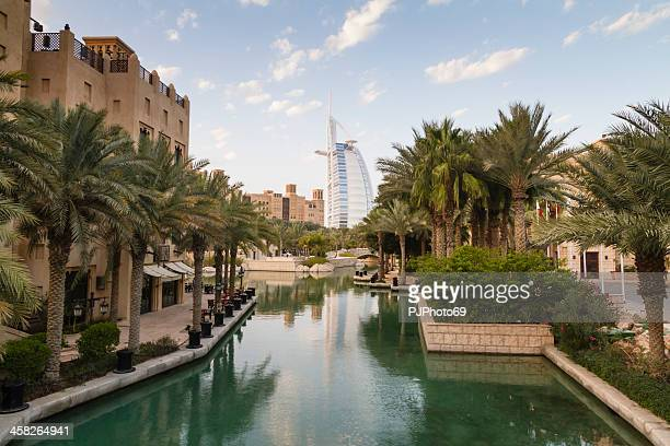 dubai - view of burj al arab from madinat souk - pjphoto69 stock pictures, royalty-free photos & images