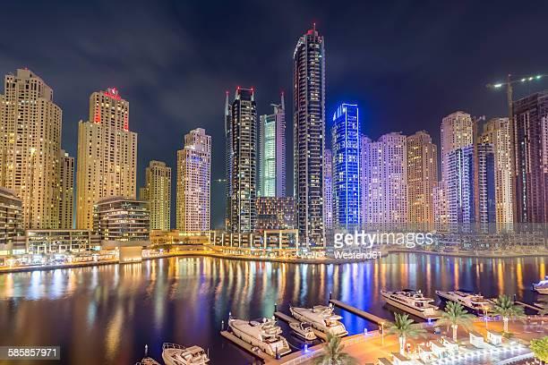 UAE, Dubai, view to Dubai Marina at night