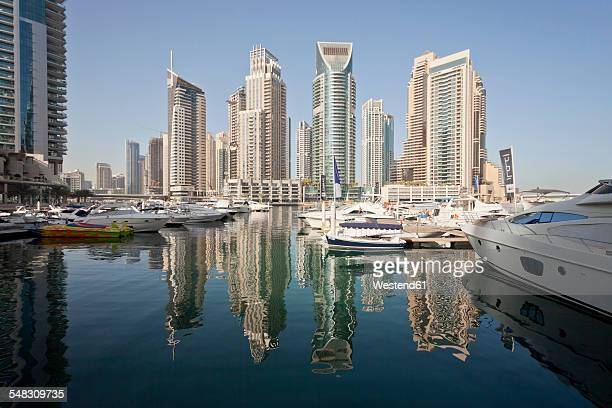 UAE, Dubai, view to skyscrapers at Dubai Marina