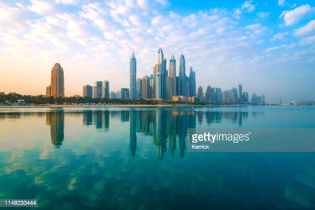 dubai - view to the skyscrapers of the district marina - skyline stock pictures, royalty-free photos & images