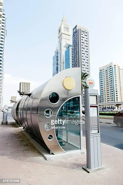 Dubaibus bus stop, contemporary architecture, skyscrapers,  Dubai cityscape
