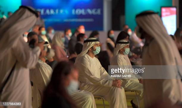 """Dubai's Crown Prince Sheikh Hamdan bin Mohammed Al-Maktoum attends the first """"real life"""" conference in the Gulf city on July 16 since the coronavirus..."""