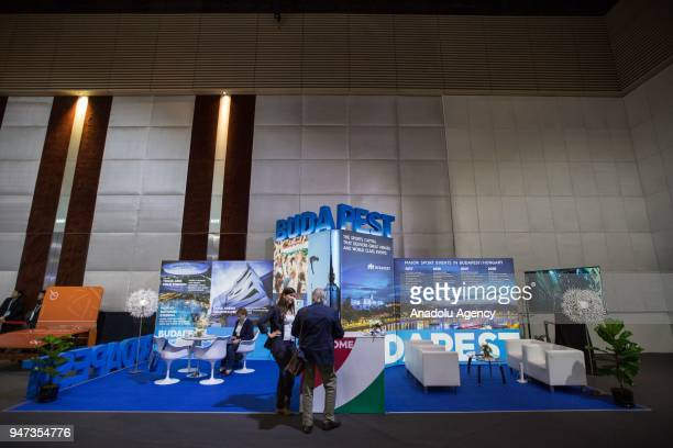 DubaPest stand is seen during the third day of Sport Accord 2018 at the Centara Grand Bangkok Convention Centre in Bangkok Thailand on April 17 2018