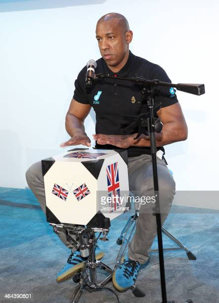 Dube creator Dion Dublin plays the Dube at the 2014 National Association of Music Merchants show media preview day at the Anaheim Convention Center...