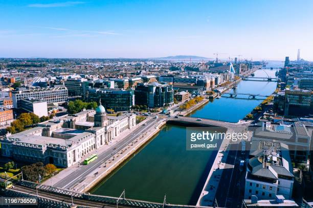 dublin aerial view with liffey river and custom house - dublin stock pictures, royalty-free photos & images