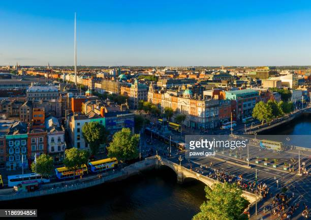 dublin aerial view with liffey river and o'connell bridge during sunset - dublin stock pictures, royalty-free photos & images