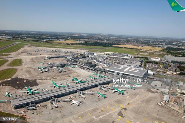 Dublin Airport Ireland showing Aer Lingus aircraft at a terminal Aer Lingus is the flag carrier airline of Ireland and the secondlargest airline in...