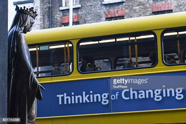 A Dublin bus passes in front of Whitefriar Street Carmelite Church Dublin On Saturday 14 January 2017 Dublin Ireland
