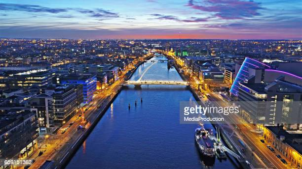 dublin by night - ireland stock pictures, royalty-free photos & images