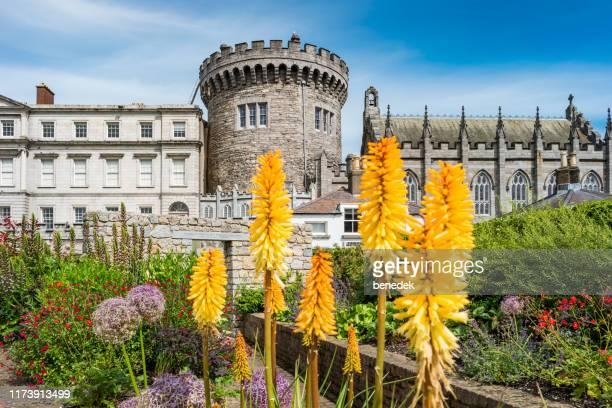 dublin castle in downtown dublin ireland - dublin castle dublin stock pictures, royalty-free photos & images