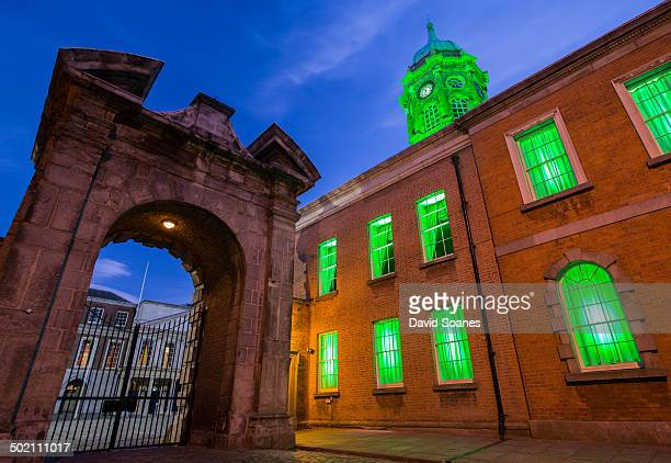 CONTENT] Dublin Castle interior courtyard with green light on the tower as part of the St Patrick's festival 2014