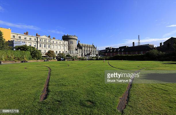 Dublin Castle with Dubh Linn Gardens in foreground