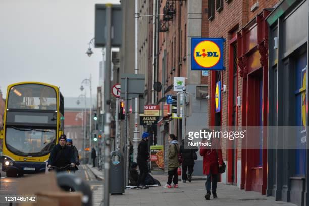 Dublin city center during Level 5 Covid-19 lockdown. On Monday, March 1 in Dublin, Ireland.