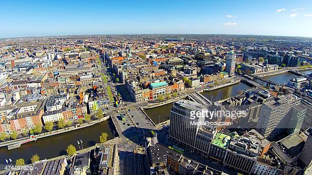 dublin city center, o'connell bridge and street - dublin stock pictures, royalty-free photos & images