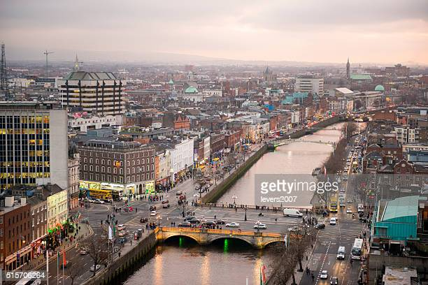 dublin city centre at sunset - dublin stock pictures, royalty-free photos & images