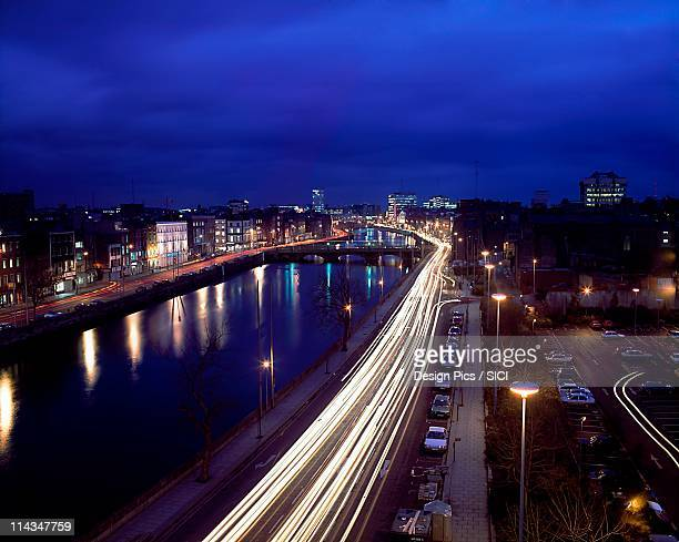 Dublin, Co Dublin, Ireland, River Liffey, Night Scene