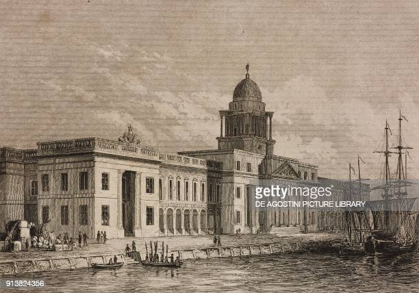 Dublin Custom House Ireland engraving by Lemaitre from Angleterre Ecosse et Irlande Volume IV by Leon Galibert and Clement Pelle L'Univers...