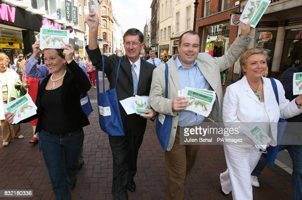 Dublin general election candidates for Fine Gael Brian Hayes Lucinda Creighton John Bailey TD Denis Naughton and Frances Fitzgerald on Grafton Street...