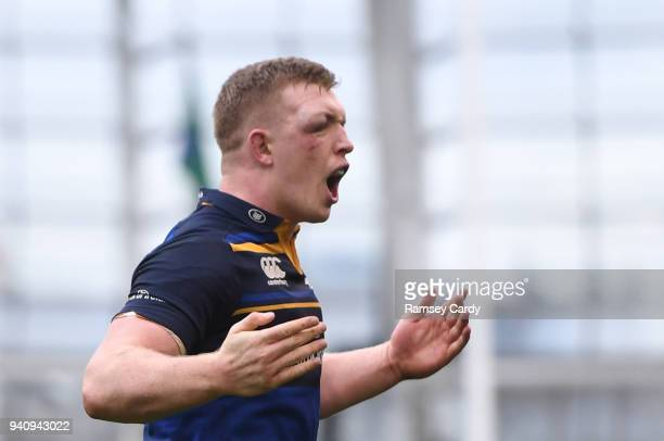 Dublin Ireland 1 April 2018 Dan Leavy of Leinster celebrates at the final whistle of the European Rugby Champions Cup quarterfinal match between...