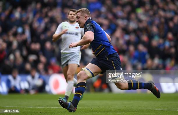 Dublin Ireland 1 April 2018 Dan Leavy of Leinster during the European Rugby Champions Cup quarterfinal match between Leinster and Saracens at the...