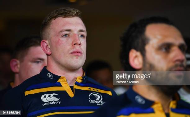 Dublin Ireland 1 April 2018 Dan Leavy of Leinster in the players' tunnel prior to the European Rugby Champions Cup quarterfinal match between...