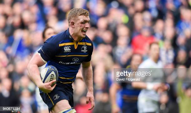 Dublin Ireland 1 April 2018 Dan Leavy of Leinster on his way to scoring his side's second try during the European Rugby Champions Cup quarterfinal...