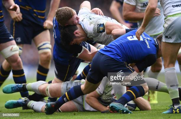 Dublin Ireland 1 April 2018 Dan Leavy of Leinster on his way to turning over possession during the European Rugby Champions Cup quarterfinal match...