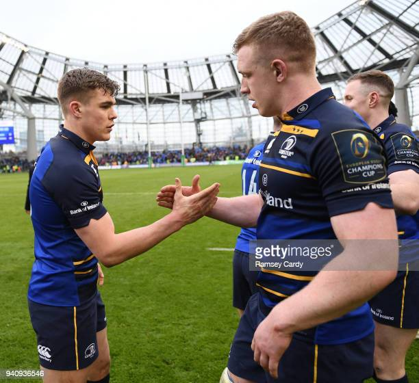 Dublin Ireland 1 April 2018 Garry Ringrose of Leinster shakes hands with Dan Leavy following the European Rugby Champions Cup quarterfinal match...
