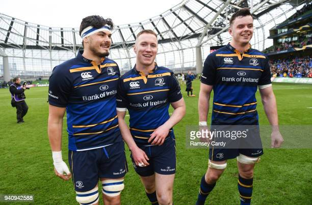 Dublin Ireland 1 April 2018 Leinster players from left Max Deegan Rory O'Loughlin and James Ryan following the European Rugby Champions Cup...