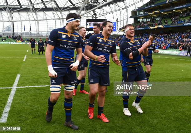 Dublin Ireland 1 April 2018 Max Deeganleft James Lowe centre and Andrew Porter of Leinster following the European Rugby Champions Cup quarterfinal...